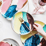 Load image into Gallery viewer, Watercolor ceramic dinner plates on a table