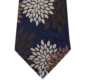 Navy Silk Tie with Brown, Stone and Khaki Pattern Close