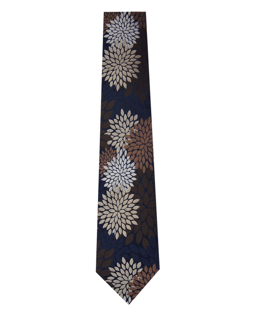 Navy Silk Tie with Brown, Stone and Khaki Pattern