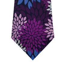 Navy Silk Tie with Purple, Lilac and Sky Blue Pattern