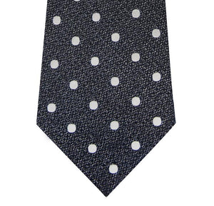 Silver and White Polka Dot Silk Tie Close