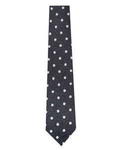 Silver and White Polka Dot Silk Tie