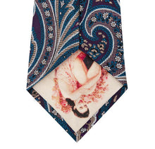 Purple Silk Tie with Blue and Stone Design Back