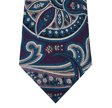 Purple Silk Tie with Blue and Stone Design Close