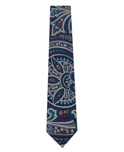 Purple Silk Tie with Blue and Stone Design