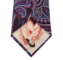 Purple Paisley Silk Tie with Pink and Sky Blue Highlight