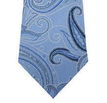Sky Blue Paisley Silk Tie Close