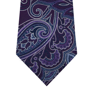 Purple Paisley Silk Tie with Blue and Lilac Highlights