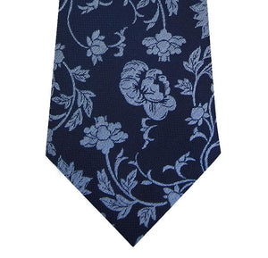Navy and Blue Floral Design Silk Tie Close