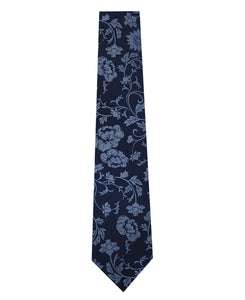 Navy and Blue Floral Design Silk Tie Long
