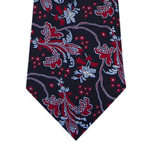 Navy Silk Tie with Red and Sky Blue Design