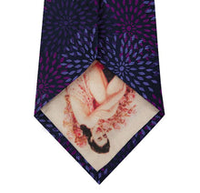 Purple with Lilac Pattern Silk Tie Back