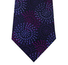 Purple with Lilac Pattern Silk Tie Close