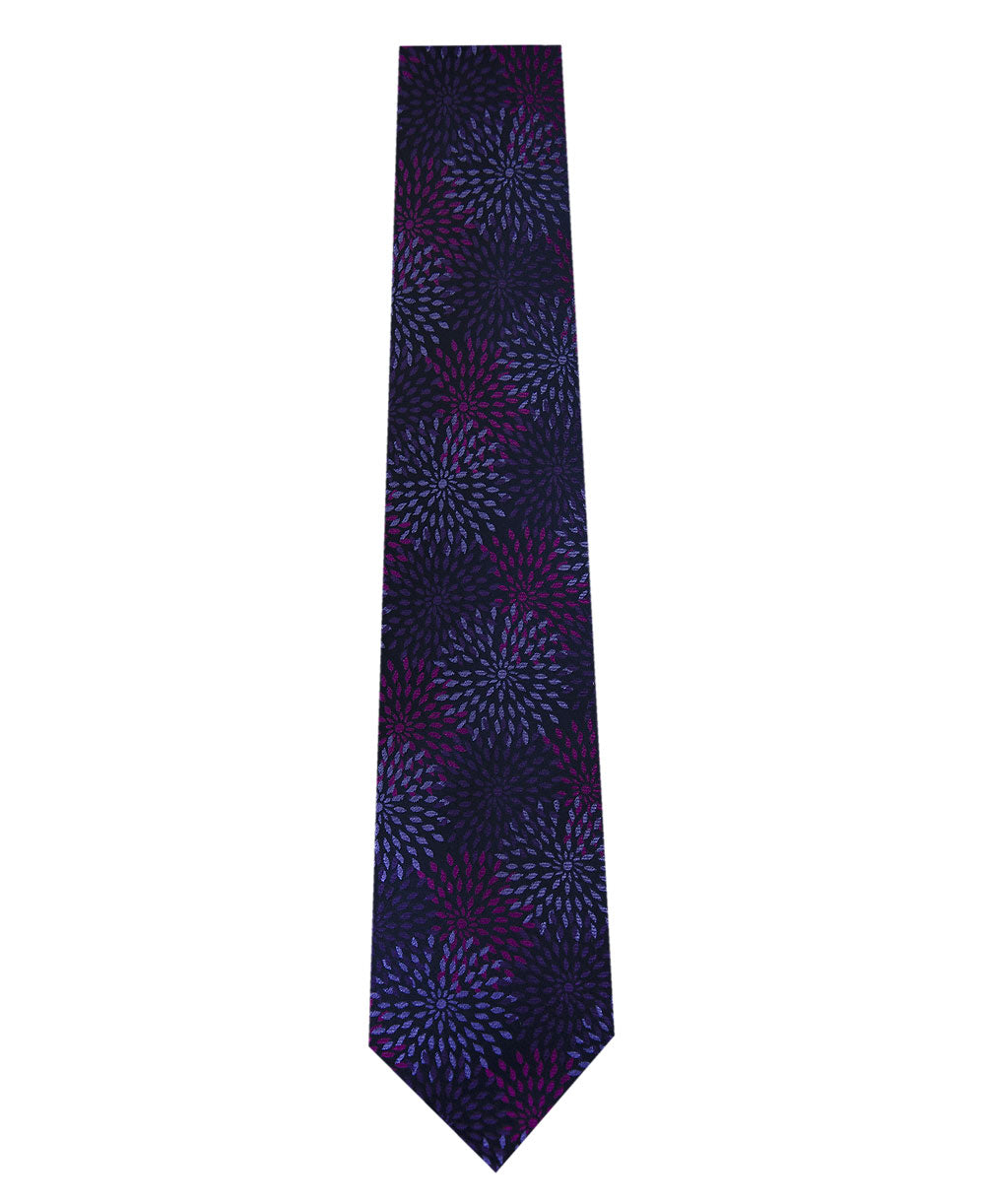 Purple with Lilac Pattern Silk Tie Long