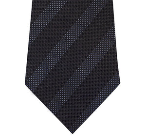 Black on Grey Stripe Silk Tie Close