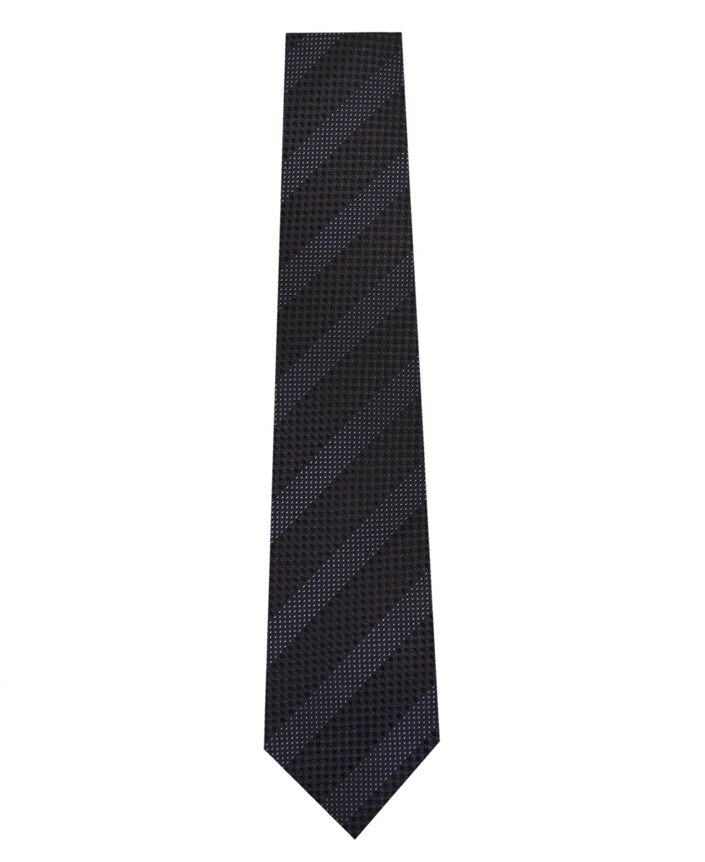 Black on Grey Stripe Silk Tie Long
