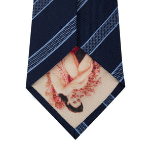 Navy Silk Tie with Blue Pattern Stripe Back