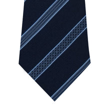 Navy Silk Tie with Blue Pattern Stripe Close