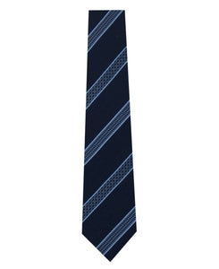 Navy Silk Tie with Blue Pattern Stripe Long