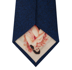 Blue Silk Tie with Herringbone Pattern Back