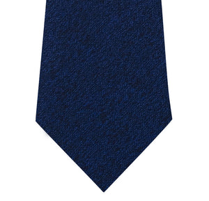 Blue Silk Tie with Herringbone Pattern Close
