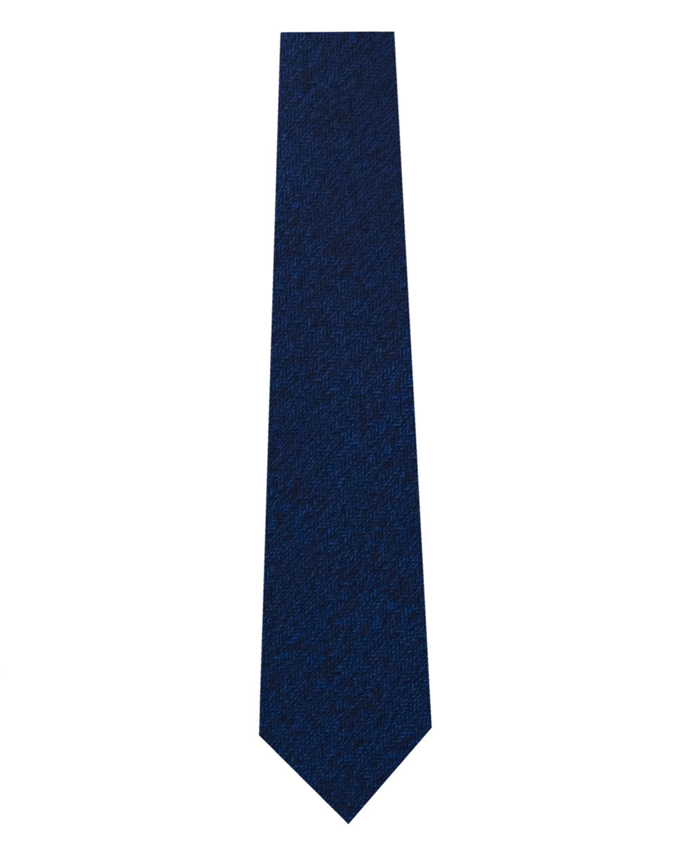 Blue Silk Tie with Herringbone Pattern Long