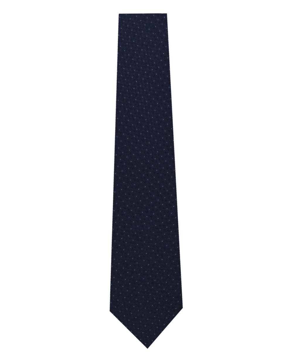 Navy and White Pin Dot Silk Tie Long