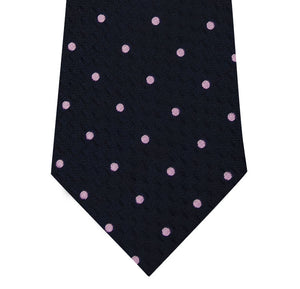 Navy and Pink Polka Dot Silk Tie Close