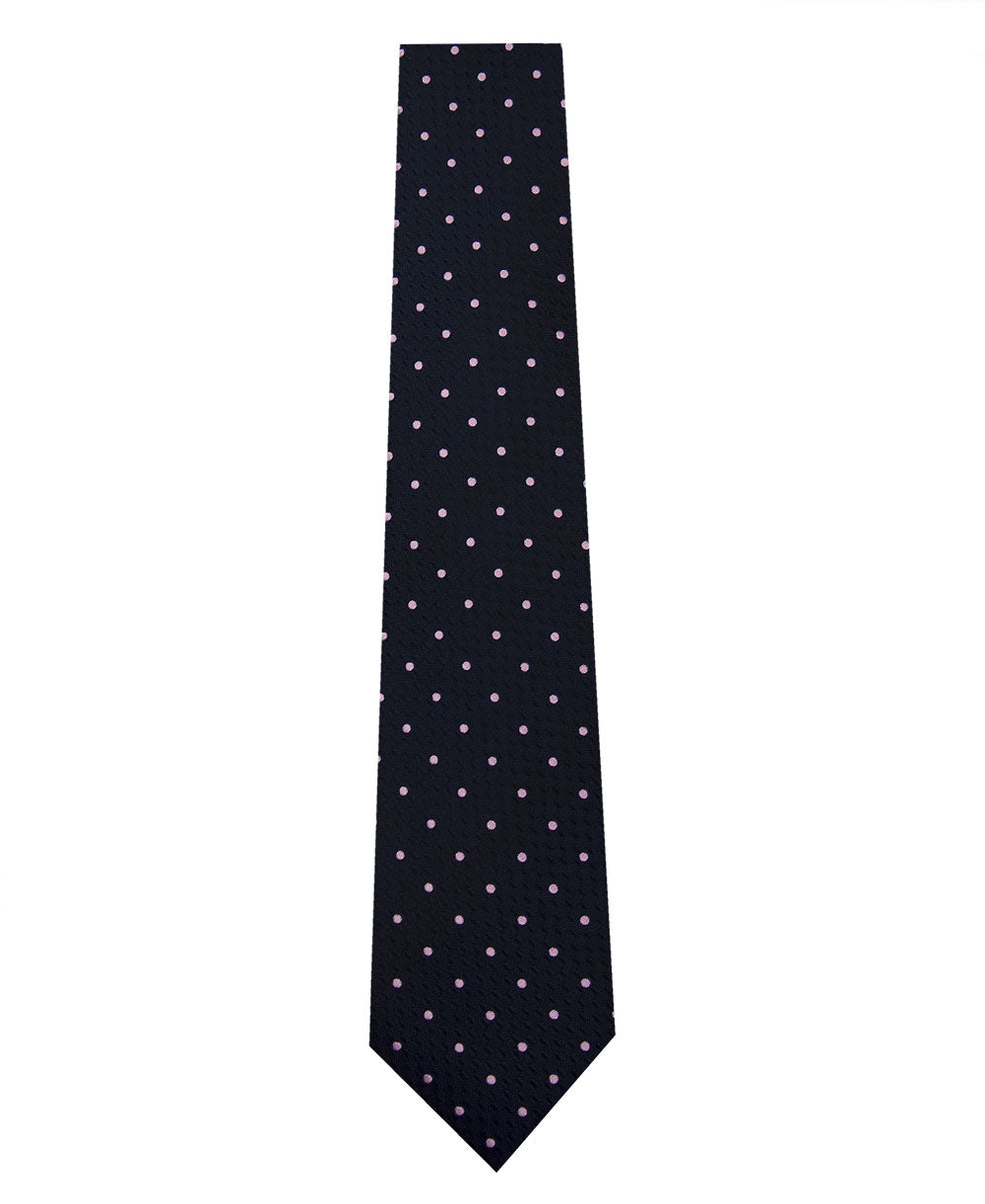 Navy and Pink Polka Dot Silk Tie Long