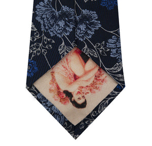 Navy and Floral Design Silk Tie Back