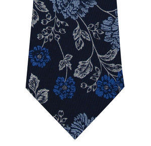 Navy and Floral Design Silk Tie Close