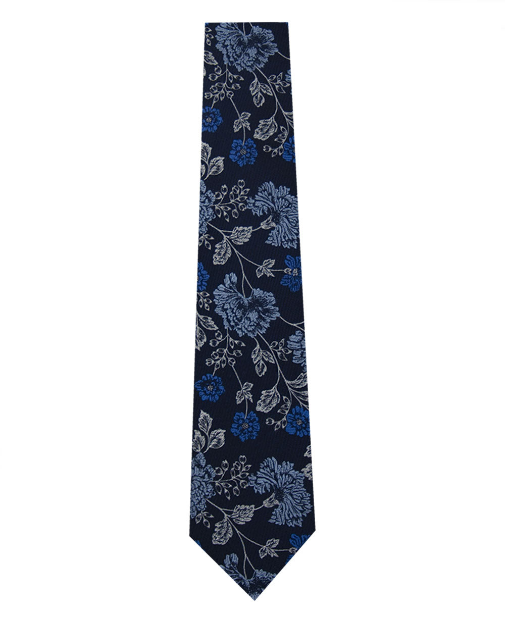 Navy and Floral Design Silk Tie Long