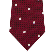 Red and White Polka Dot Silk Tie Close