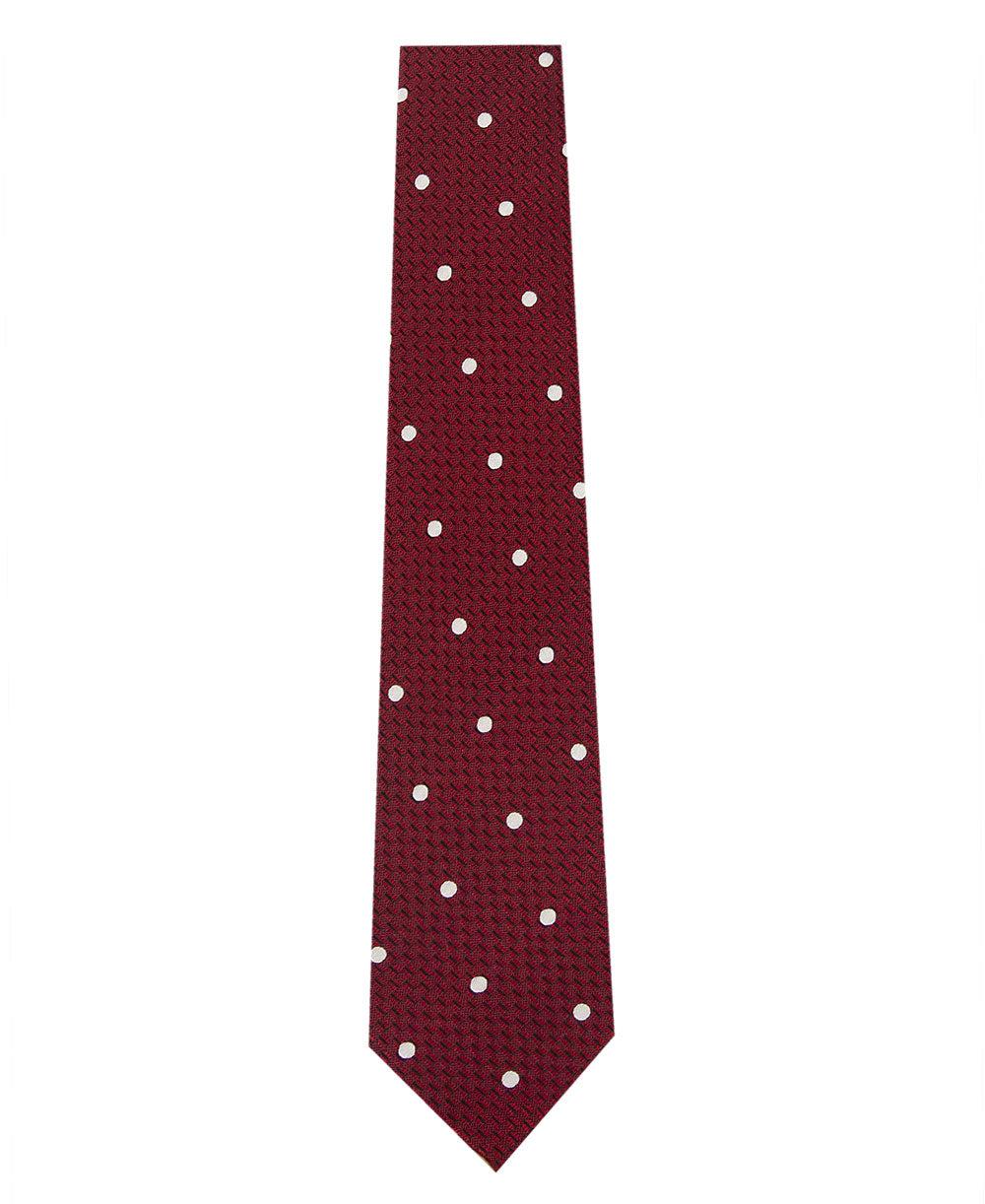 Red and White Polka Dot Silk Tie Long