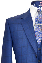 Cobalt blue three piece notch lapel suit with indigo over-check