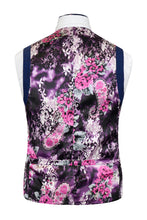 Cobalt blue waistcoat with indigo over-check featuring a striking purple floral back lining