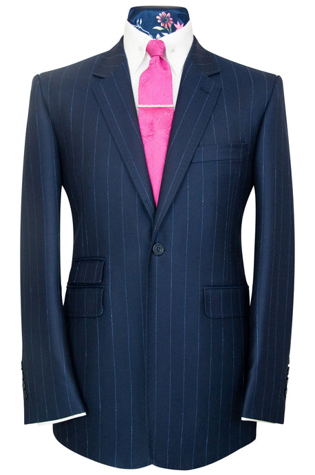 William Hunt Savile Row Navy two piece suit with sapphire blue pinstripe
