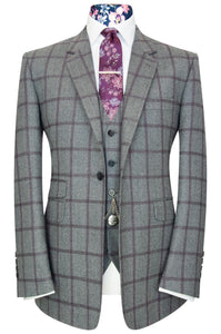 William Hunt Savile Row Elephant grey three piece suit with plum overcheck