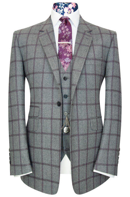 William Hunt The Caldwell Elephant Grey Suit with Plum Overcheck