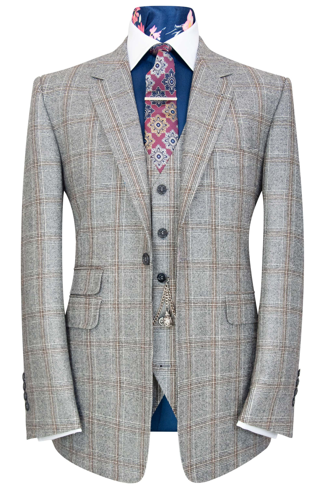 William Hunt Savile Row Grey marl three piece suit with black and barley overcheck