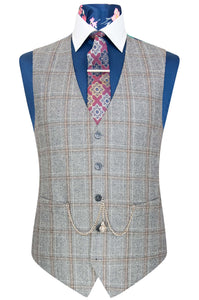 William Hunt Savile Row Grey marl waistcoat with black and barley overcheck featuring a blue base back lining with tropical floral pattern