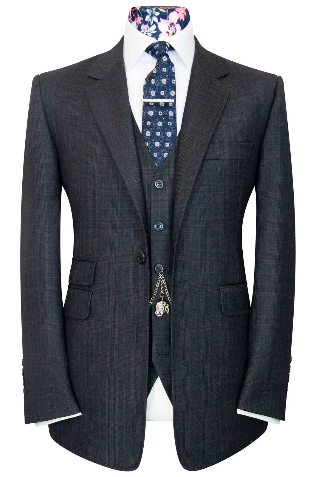 William Hunt Savile Row Grey prince of wales three piece suit