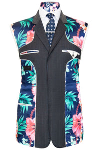 William Hunt Savile Row Grey prince of wales three piece suit with blue base lining with tropical floral pattern
