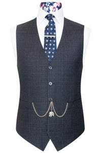 William Hunt Savile Row Grey prince of wales waistcoat with blue base back lining with tropical floral pattern