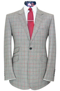 William Hunt Savile Row Red Prince of Wales over grey check two piece notch lapel suit