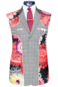William Hunt Savile Row Red Prince of Wales over grey check two piece suit with black base lining with multi-coloured floral pattern