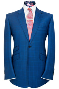 William Hunt Savile Row Cobalt blue overcheck two piece notch lapel suit