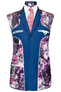 William Hunt Savile Row Cobalt blue overcheck two piece suit with striking purple floral lining with pink and white highlights