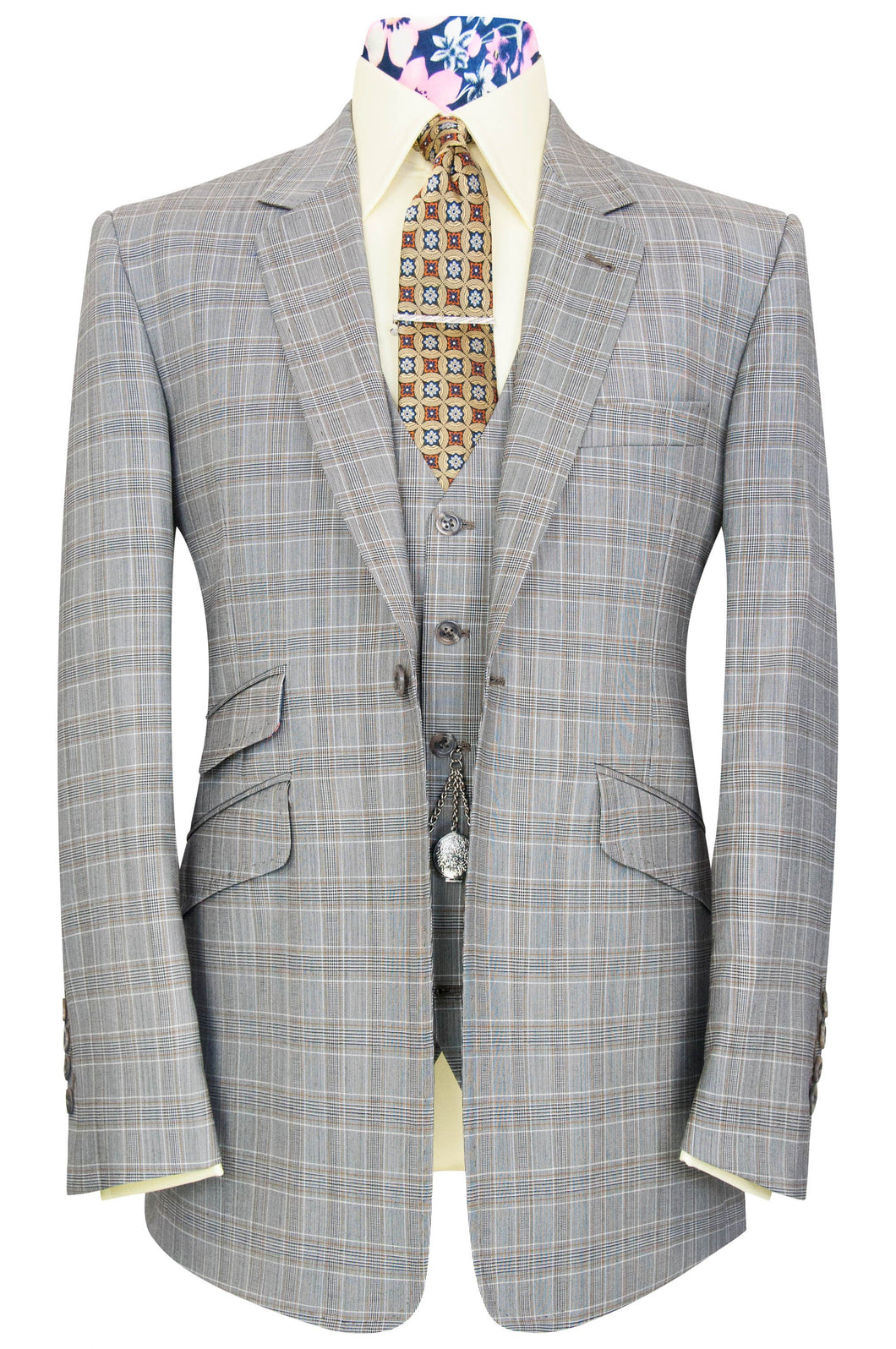 William Hunt Savile Row Grey three piece notch lapel suit with barley overcheck
