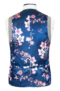 William Hunt Savile Row Grey waistcoat with barley overcheck featuring a blue base back lining with pink floral bouquet highlights